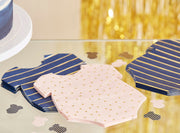 Gold Foiled Pink and Navy Baby Grow Shaped Napkins