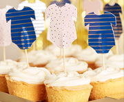 Gold Foiled Pink and Navy Baby Grow Cupcake Toppers