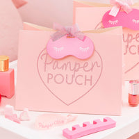 Pink Glitter Pamper Pouch with Eye Mask Shaped Tag