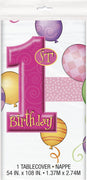 First Birthday Pink Tablecover 1 ct.