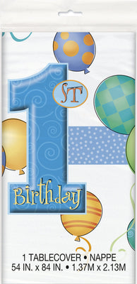 First Birthday Blue Tablecover 1 ct.