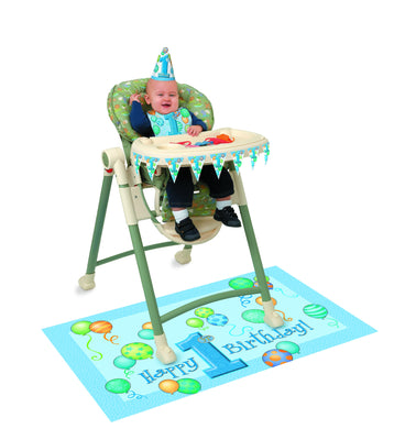 First Birthday Blue high Chair Decorating Kit