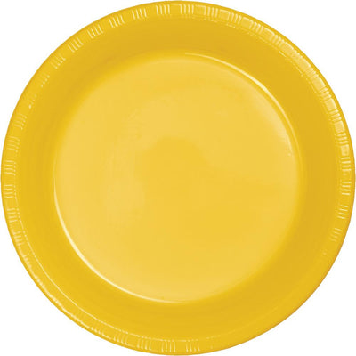 7 in School Bus Yellow Dessert Plates 20 ct