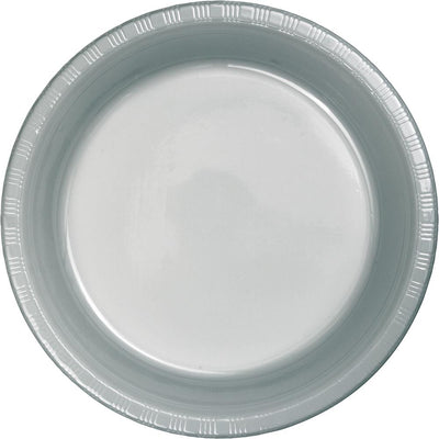 7 in. Shimmering Silver Paper Dessert Plates 20 ct