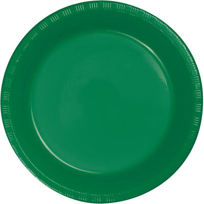 7 in. Emerald Green Dessert Plastic Plates 20 ct.