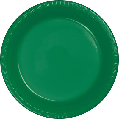 9 in. Emerald Green Lunch Plastic Plates 20 ct.