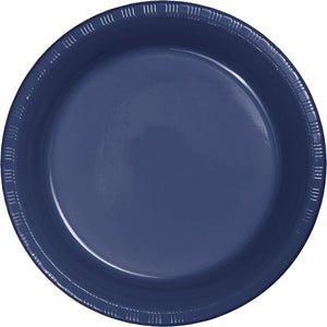 7 in. Navy Plastic Dessert Plates 20 ct