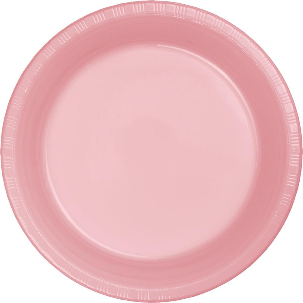 9 in. Classic Pink Plastic lunch Plates 20 ct