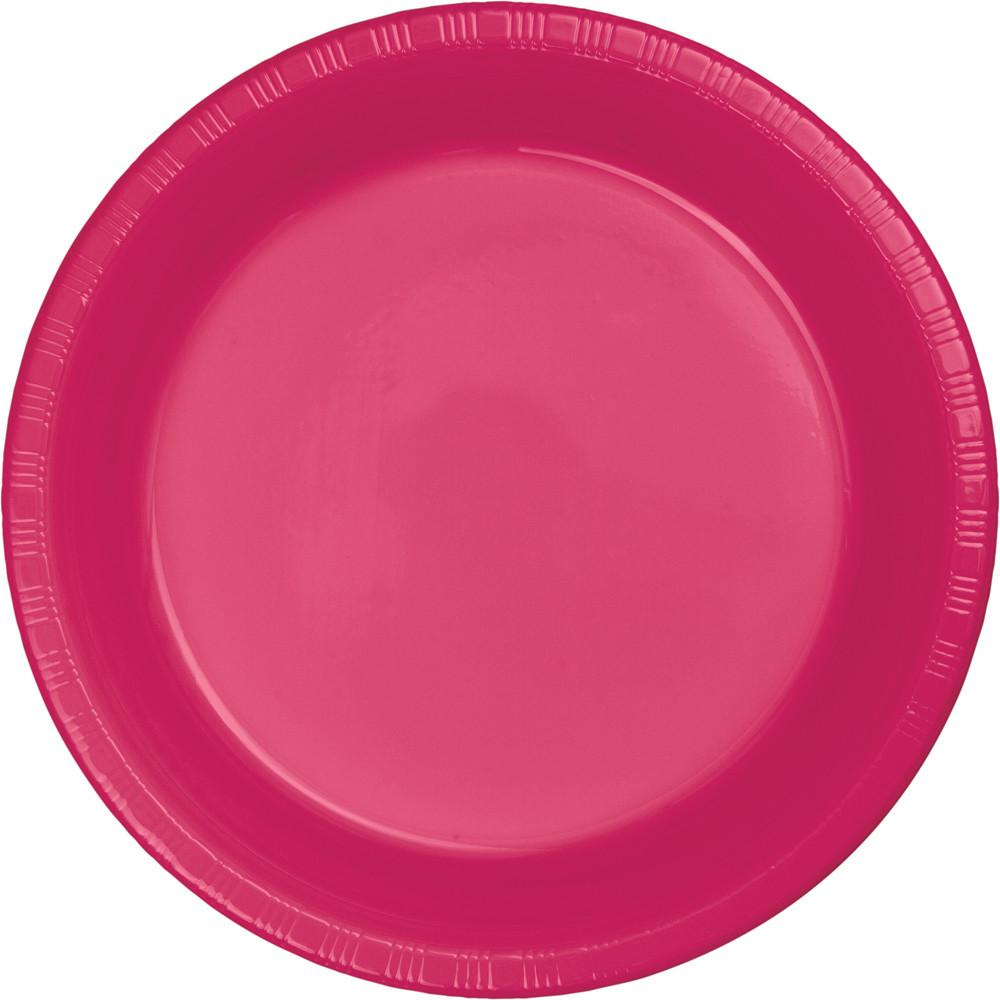 9 in. Hot Pink Plastic Lunch Plates 20 ct