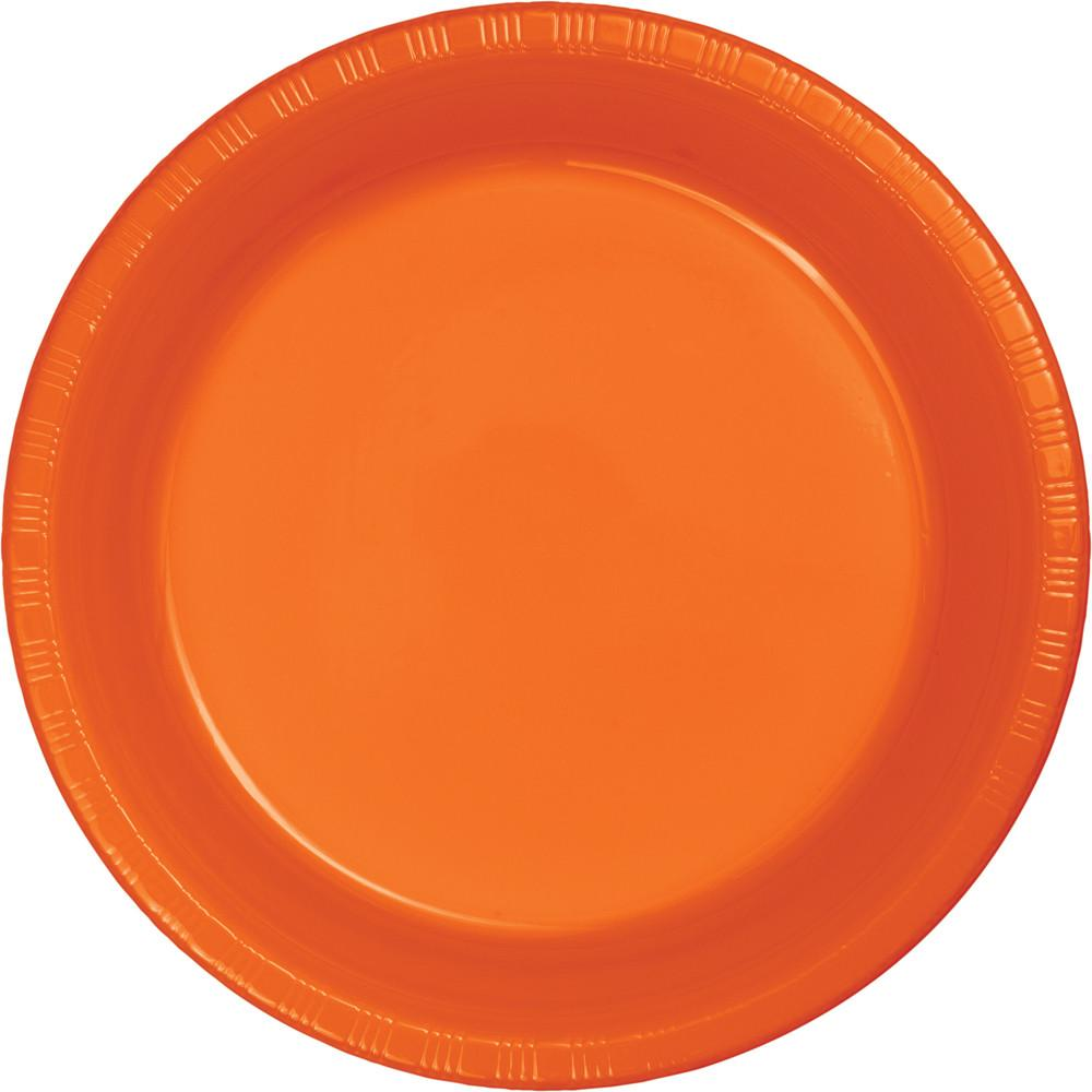 7 in. Sunkissed Orange Dessert Plastic Plates 20 ct