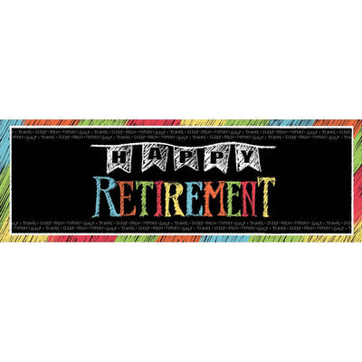 Chalk Retirement Giant Banner 20 in. X 60 in. 1 ct.