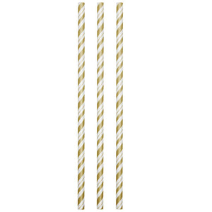 Gold and White Striped Paper Straws 24 ct.