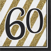 Black & Gold 60 Luncheon Napkins 16 ct.  3 ply.