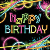 Happy Birthday Glow Party Luncheon Napkins 16 ct.