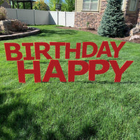 HAPPY BIRTHDAY Red Yard Sign with half yard stakes 1 ct.