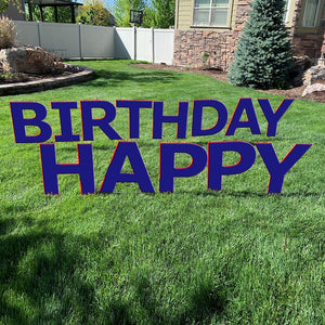 HAPPY BIRTHDAY Dark Navy Yard Sign with half yard stakes 1 ct.