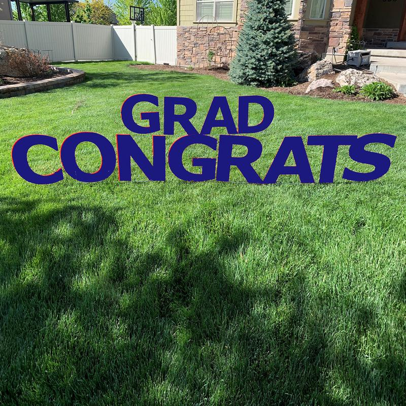 CONGRATS GRAD Navy Blue Yard Sign with half yard stakes  1 ct.