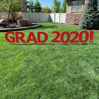 GRAD 2020! Red Yard Sign with half yard stakes 1 ct.