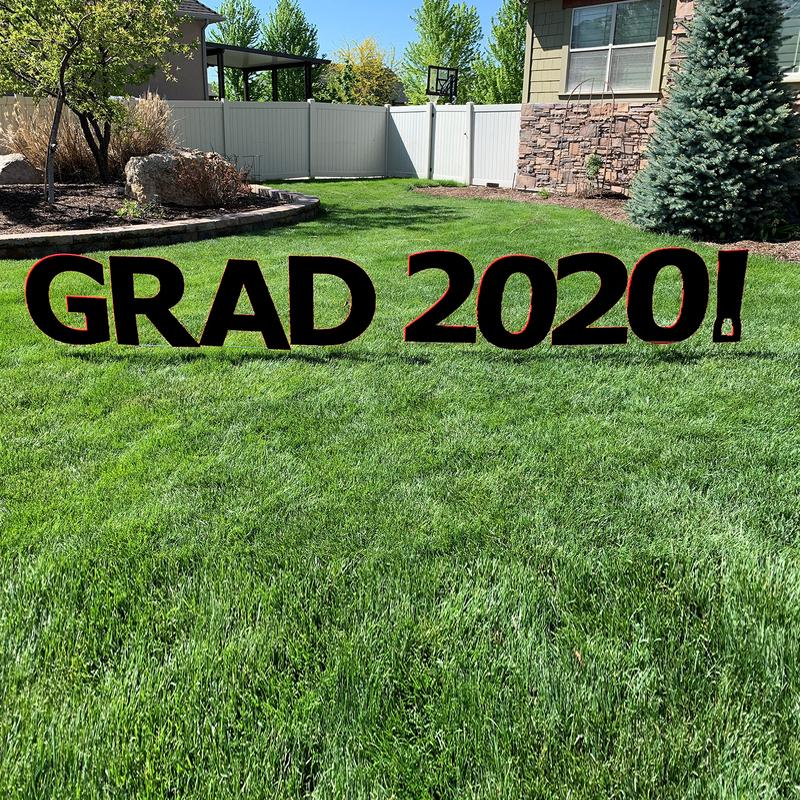GRAD 2020! Black Yard Sign with half yard stakes 1 ct.