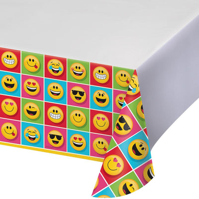 Show your Emojions Plastic Tablecover 54 in. X 102 in. 1 ct.