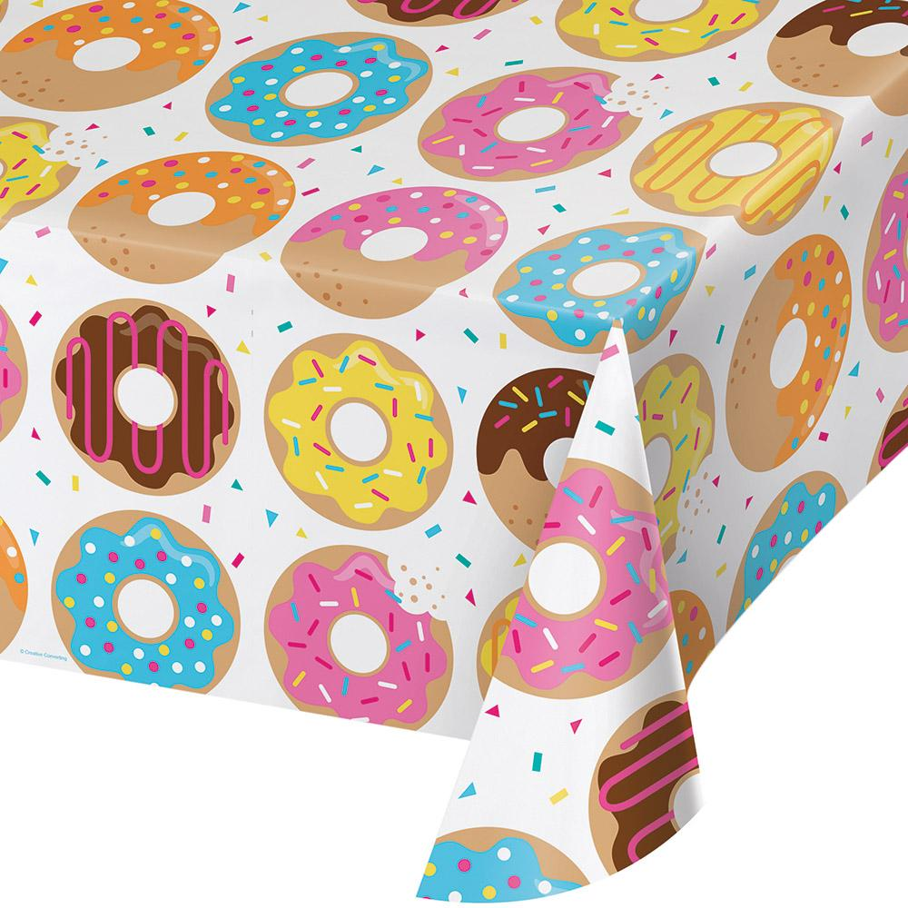 Donut Time Plastic Tablecover 54 in. X 102 in.  1 ct.