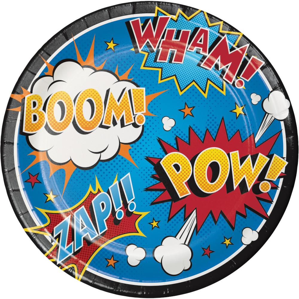 9 in. Superhero Slogans Lunch Paper Plates 8 ct.
