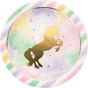 9 in. Unicorn Sparkle Foil Stamp Paper Plates 8 ct