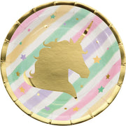 7 in. Unicorn Sparkle Foil Stamp Paper Plates 8 ct