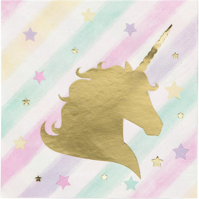 Unicorn Sparkle Foil Stamp Beverage Napkins 16 ct.