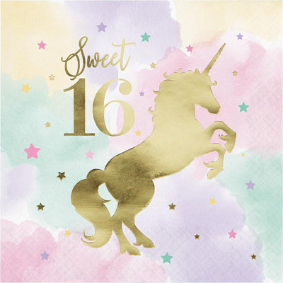 Unicorn Sparkle 1st Lunch Napkins 16 ct.