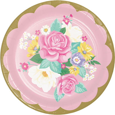 9 in. Floral Tea Party Assorted Lunch Plate 8 ct.