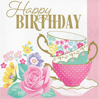 Floral Tea Party Happy Birthday Luncheon Napkins 16 ct.