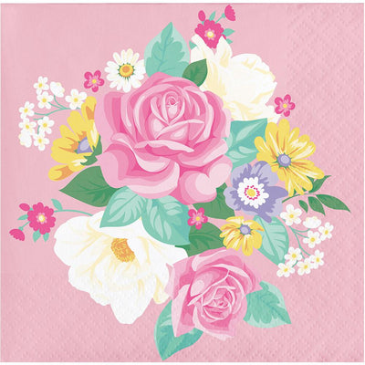 Floral Tea Party Beverage Napkins 16 ct.