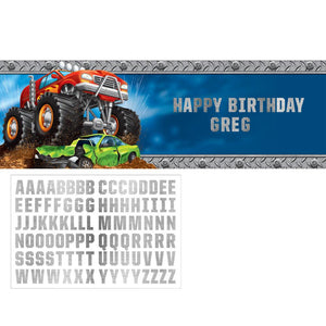 Monster Truck Rally Giant Banner W/Stickers  1 ct.