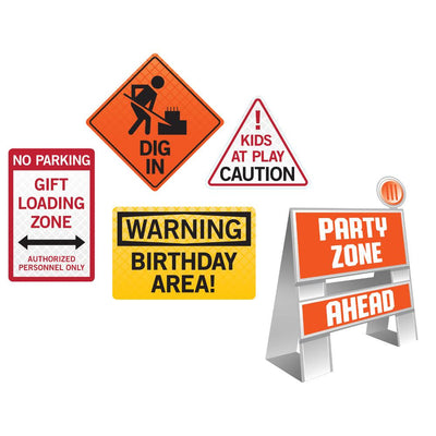 Big Dig Construction Tabletop Easel and Warning Signs Set 5 ct.