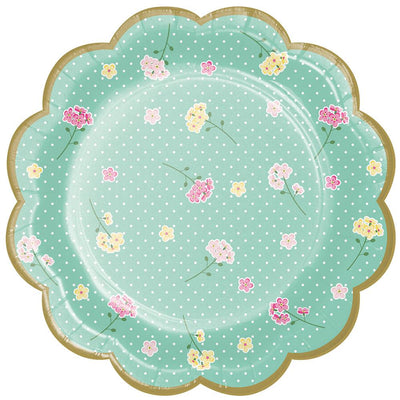 7 in. Floral Tea Party Assorted Dessert Plate 8 ct.