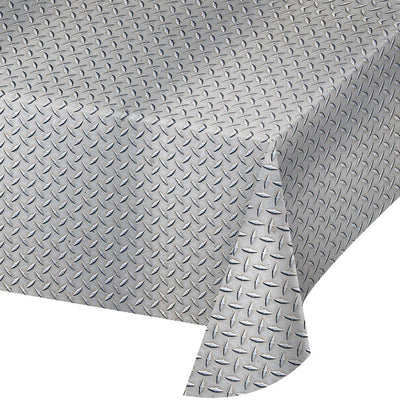 Diamond Plate Plastic Tablecover 1 ct.  54 in. X 108 in.