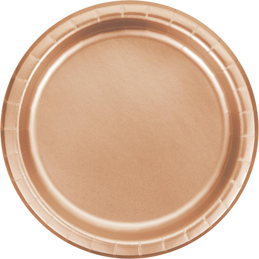 7 in.  Rose Gold Foil Dessert Plates  8 ct.