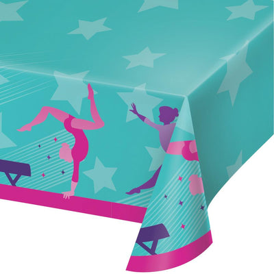 Gymnastics Party Paper Tablecover 54 in. X 102 in.   1ct.