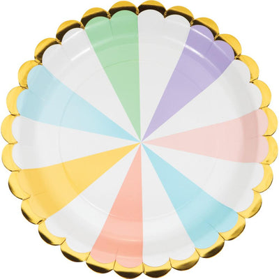 9 in. Pastel Celebrations Scalloped Lunch Plates 8 ct.