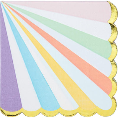 Pastel Celebrations Foil Scalloped Lunch Napkins 16 ct.