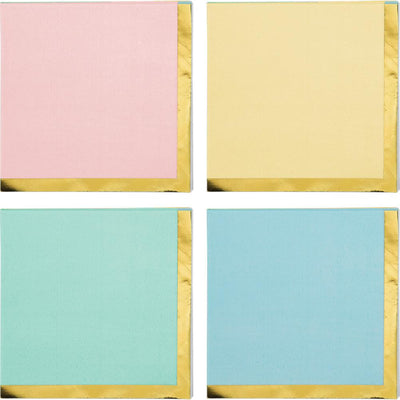 Pastel Celebrations Foil Assorted Colors Beverage Napkins 16 ct.