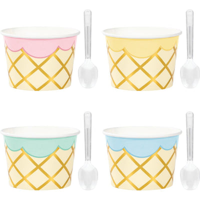 Treat Cups w/Clear Plastic Mini Spoons 8 ct.