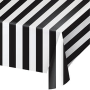 Black and White Stripes Plastic Tablecover  54 in. X  108 in.   1 ct.