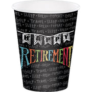 12 oz Chalk Retirement Paper Cup 8ct