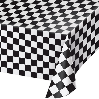 Black and White Checked Paper Tablecover 54 in. X 108 in. 1 ct.