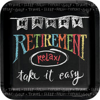 9 in. Chalk Retirement Square Paper Plates 8 ct