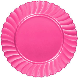 7.5 in Hot Pink Plastic Scallop Plate 12 ct