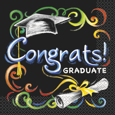 Chalkboard Graduation Luncheon Napkins  16ct