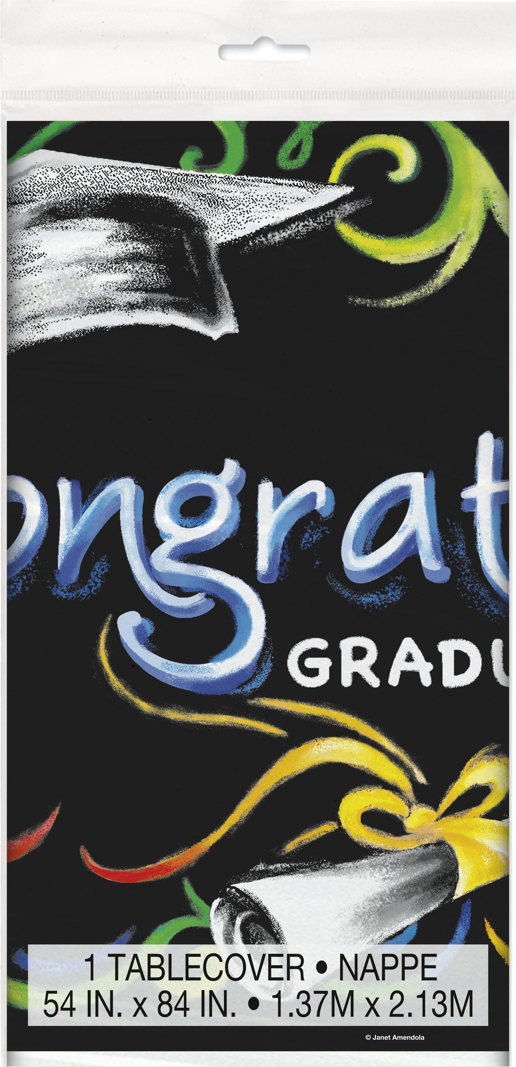 "Chalkboard Graduation Rectangular Plastic Table Cover  54""x84"""